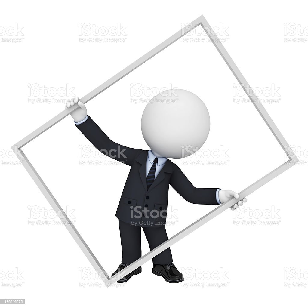 3d white character as business man with frame royalty-free stock photo