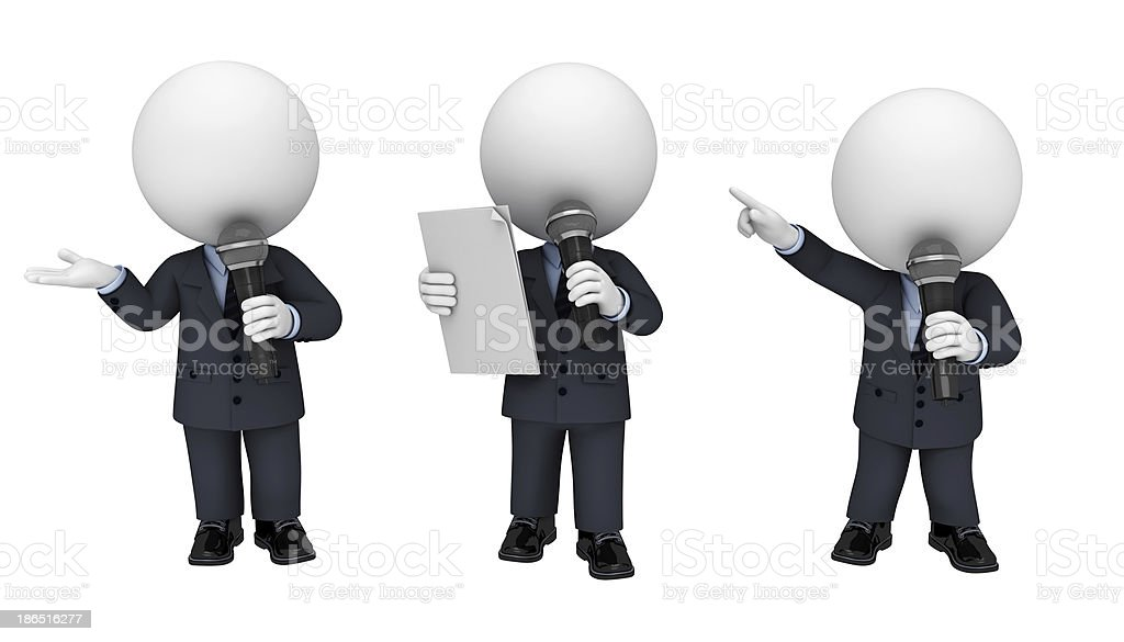 3d white character as business man with mike royalty-free stock photo