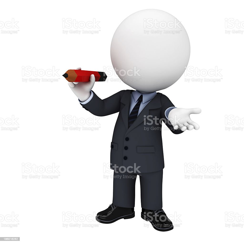 3d white character as business man with pencil royalty-free stock photo