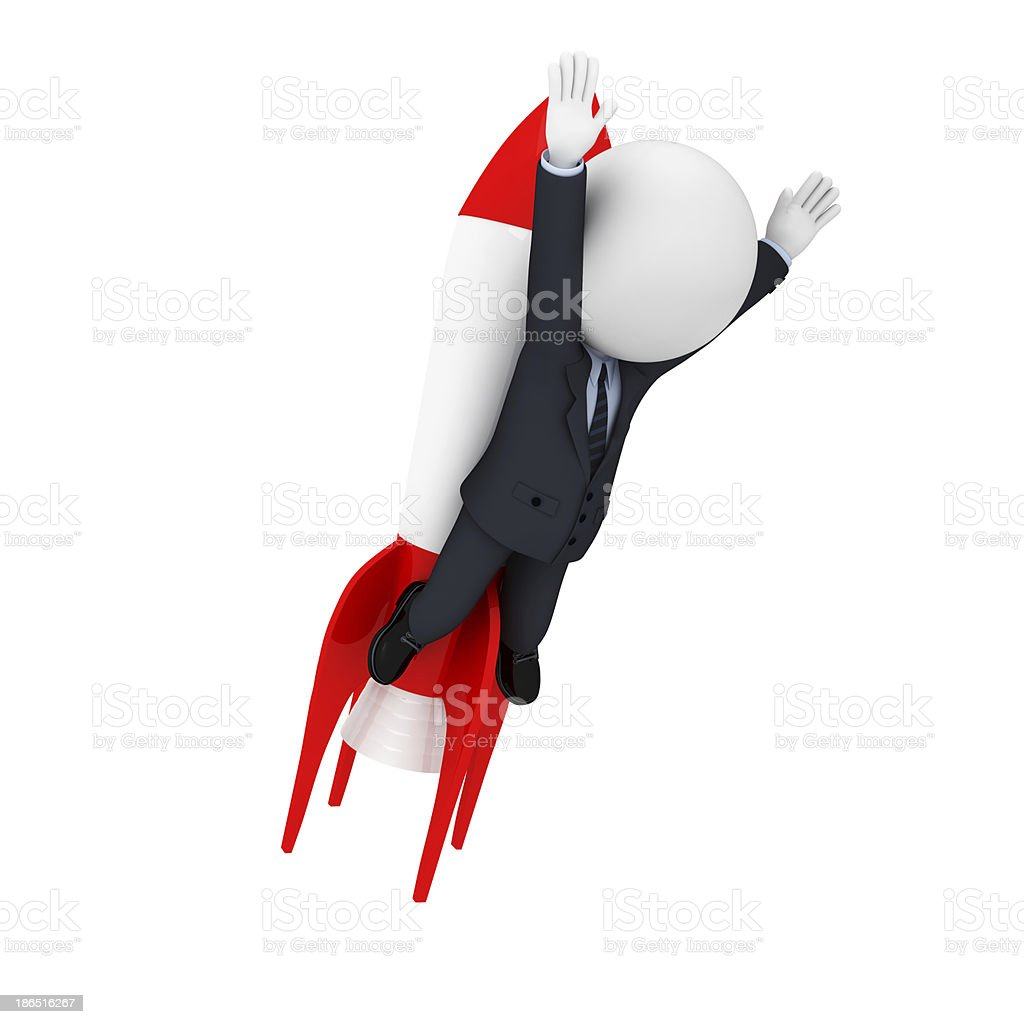 3d white character as business man with rocket royalty-free stock photo