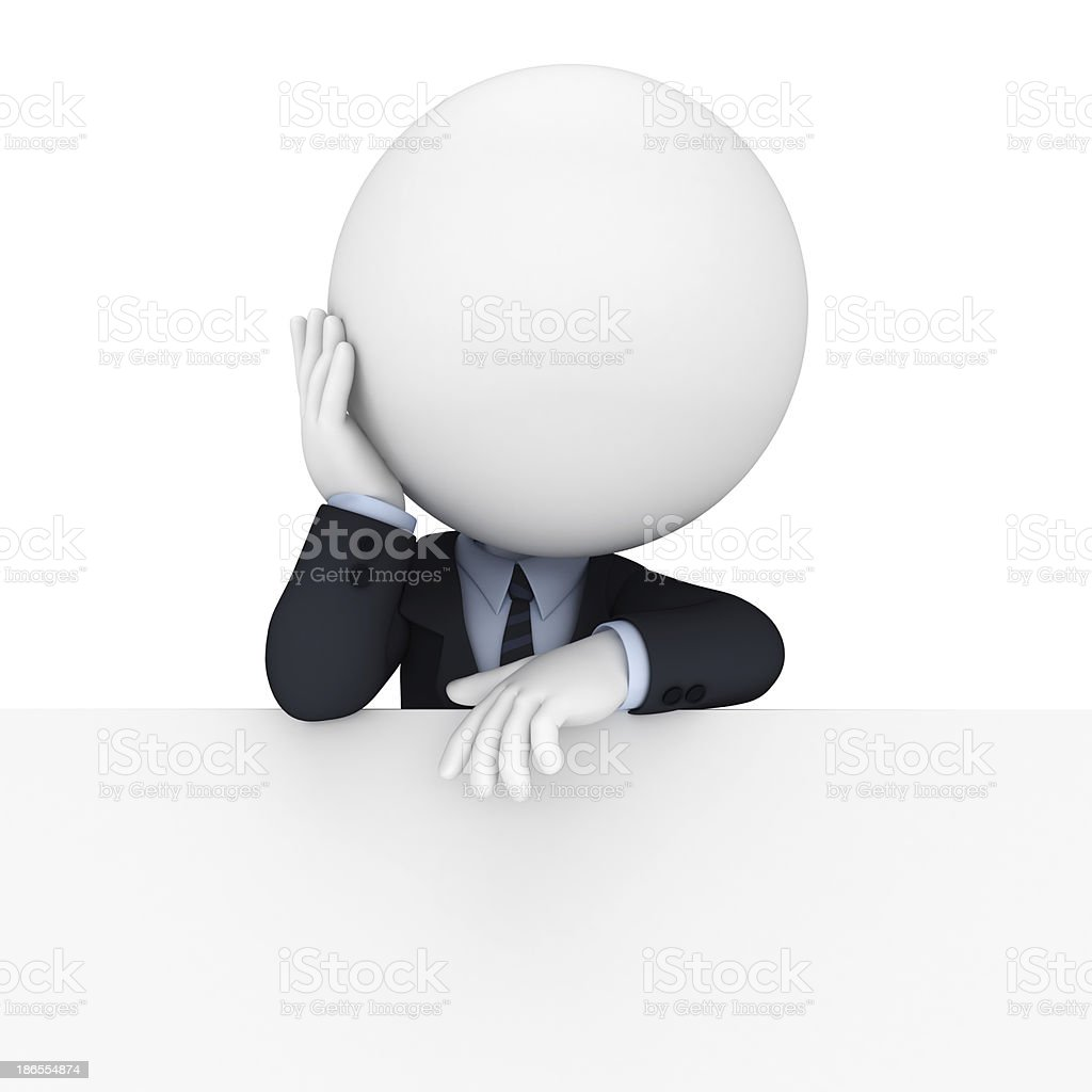 3d white character as business man with sign royalty-free stock photo