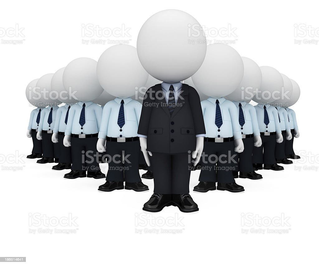 3d white character as businessman with service man royalty-free stock photo