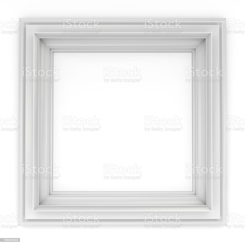 3d white classical frame stock photo