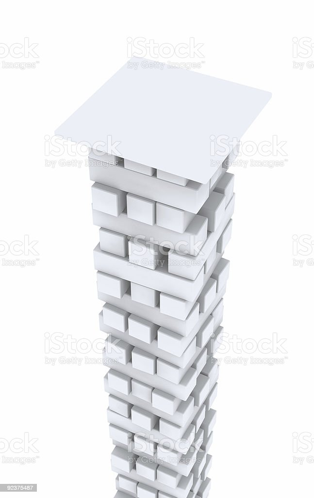 3d white column from bricks royalty-free stock photo