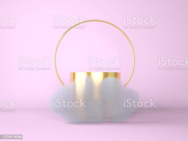 Photo of 3d white cumulus or cloud floating around the round podium, empty stage, cylinder pedestal.