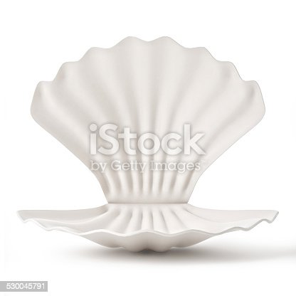 istock 3d White empty Shell isolated on white background 530045791