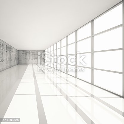 470934084 istock photo 3d white interior with bright windows and concrete walls 471183680