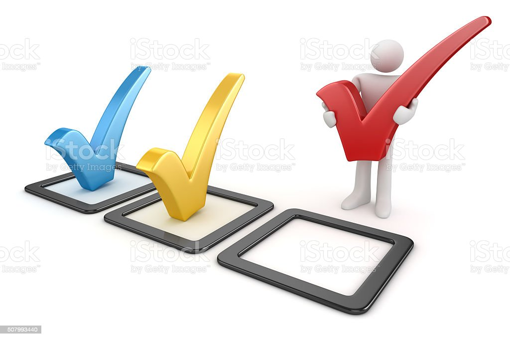 3d white man and colorful checkmark symbol stock photo
