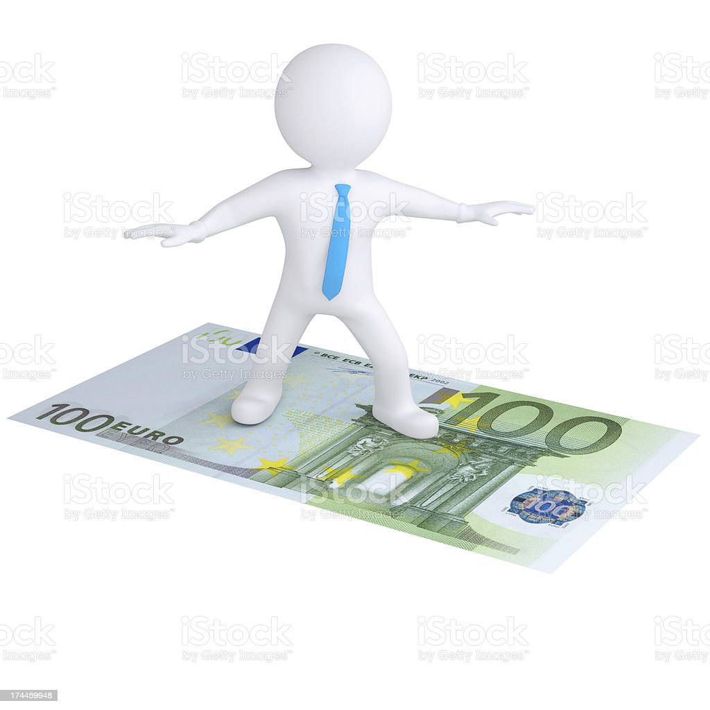 3d white man flying on the euro bill royalty-free stock photo