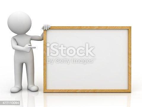 istock 3d white man holding blank board 472110094