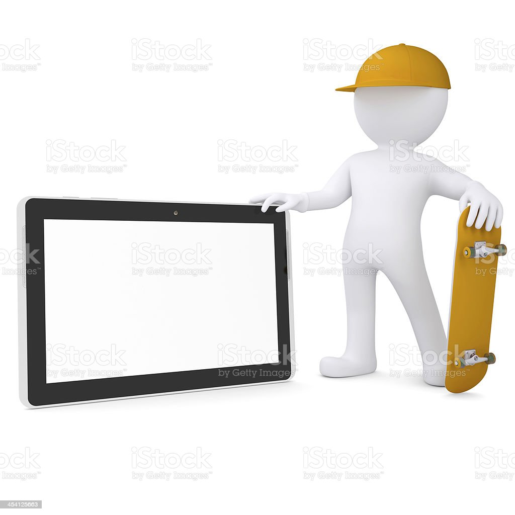 3d white man holding skateboard and a tablet PC royalty-free stock photo