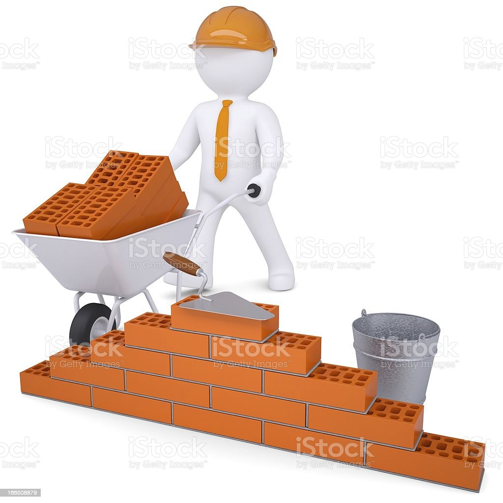 3d white man in helmet builds wall royalty-free stock photo
