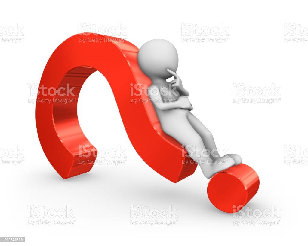 3D hombre blanco acostado en un signo de interrogación rojo. - foto de stock