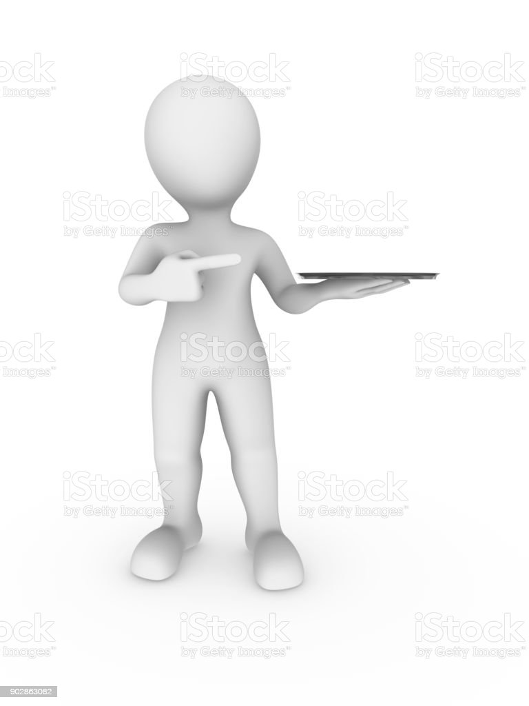 3d white man pointing finger at tray stock photo