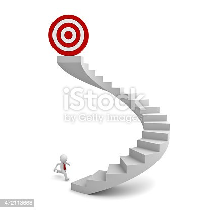 471353682 istock photo 3d white man running to the target 472113668