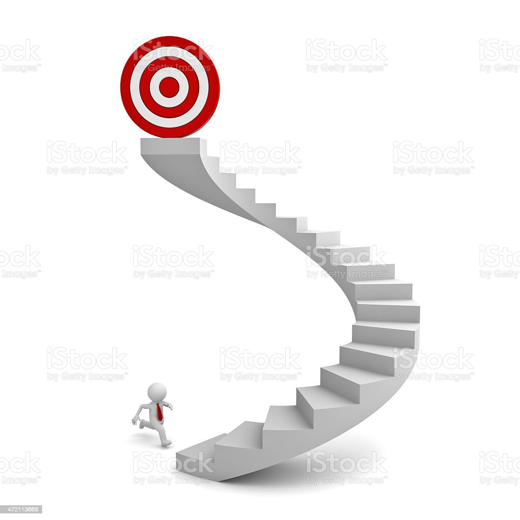 3d white man running to the target stock photo