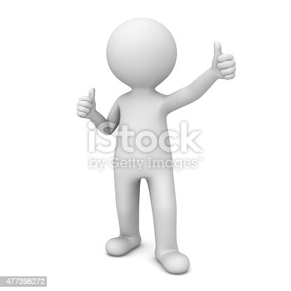 471353682 istock photo 3d white man showing thumbs up 477398272