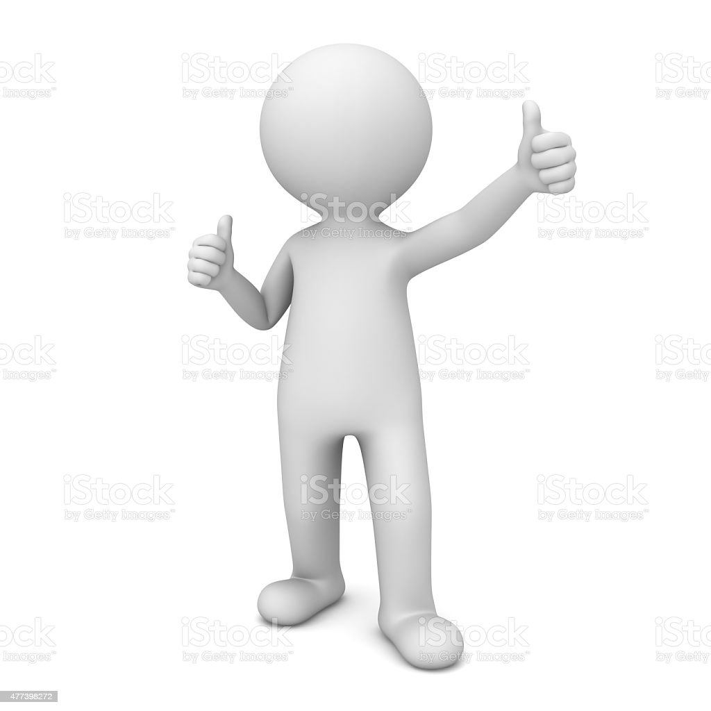 3d white man showing thumbs up foto