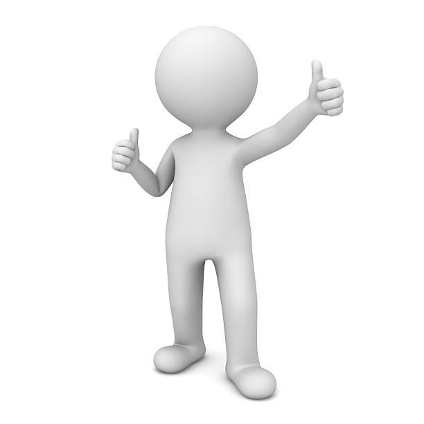白い 3 d 男を示す親指を立てる ストックフォト