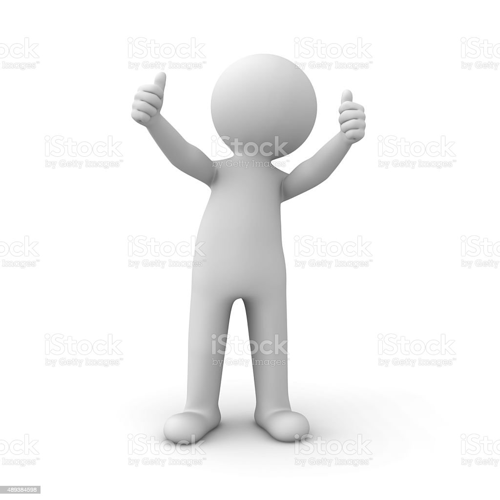 3d white man showing thumbs up stock photo