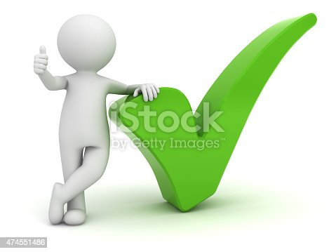 474551486istockphoto 3d white man with green tick 474551486