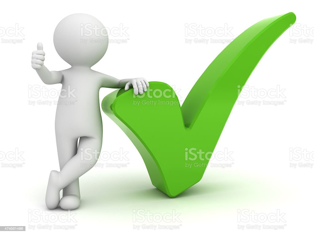 3d white man with green tick stock photo