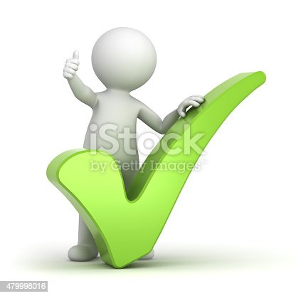 474551486istockphoto 3d white man with green tick 479998016
