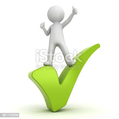 474551486istockphoto 3d white man with green tick 951132838
