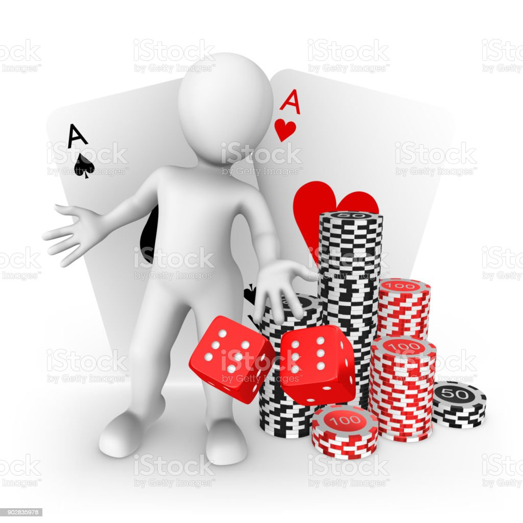 3d white man with playing cards in casino stock photo
