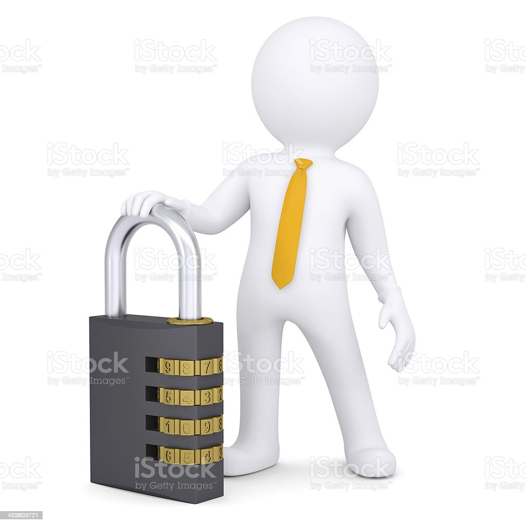 3d white man with the combination lock royalty-free stock photo