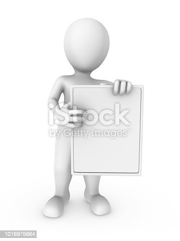 istock 3d white man with the empty board. 3d rendered illustration. 1016975664