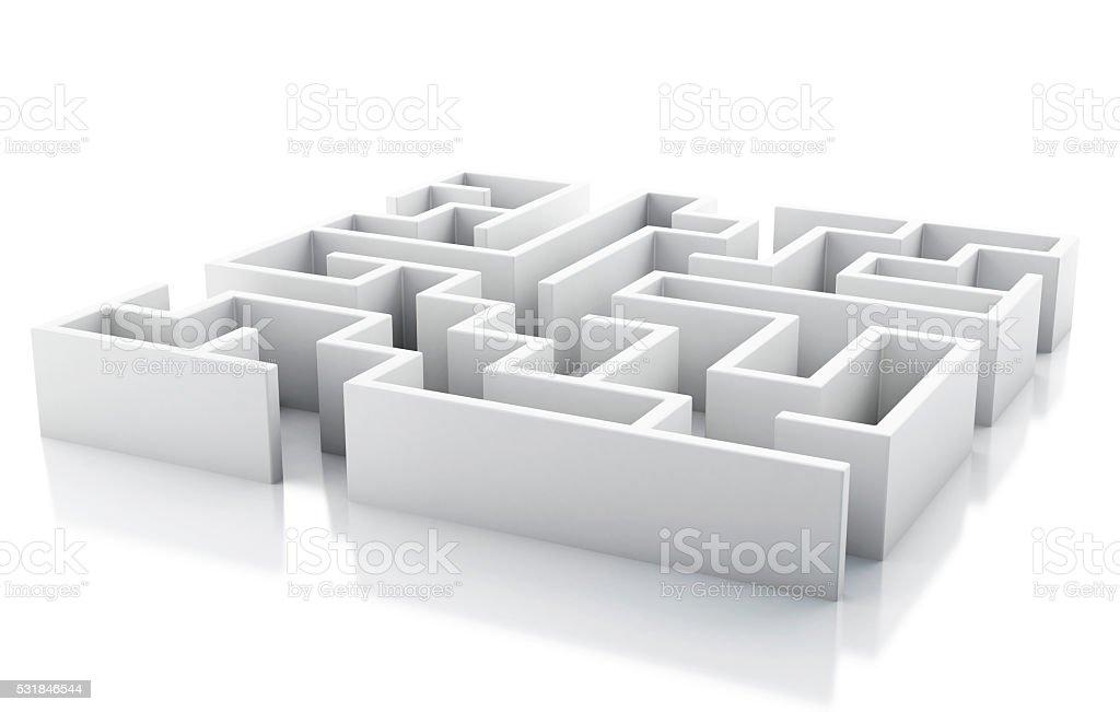 3d White maze. Isolated white background. stock photo