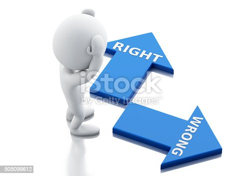 istock 3d White people and arrows. choice concept. 505099612