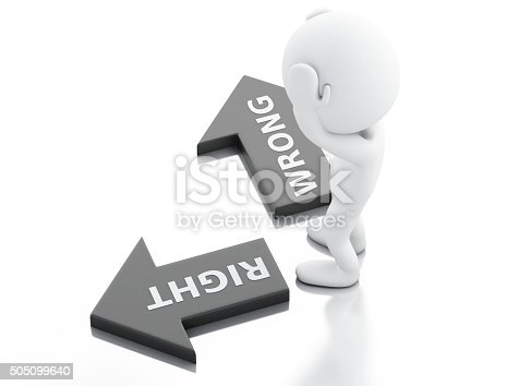 istock 3d White people and arrows. choice concept. 505099640