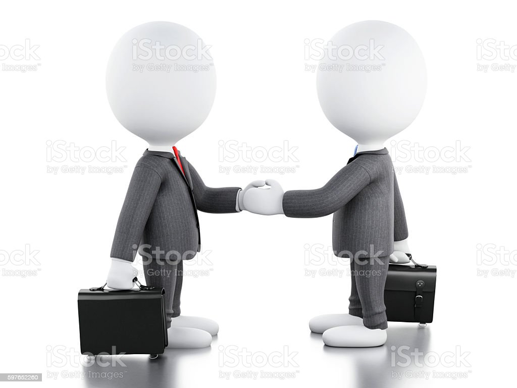 3d white people are shaking hands. Business concept. - Lizenzfrei Abmachung Stock-Foto