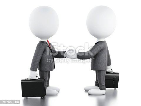 istock 3d white people are shaking hands. Business concept. 597652260
