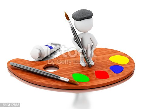 1021586250istockphoto 3d White people artist on color palette. 542312566