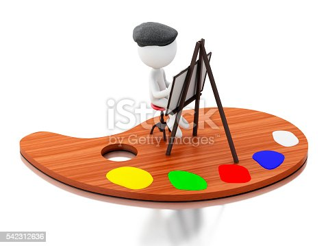 1021586250istockphoto 3d White people artist painting on color palette. 542312636