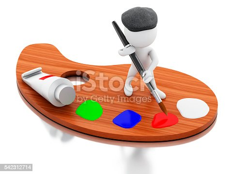 1021586250istockphoto 3d White people artist painting on color palette. 542312714