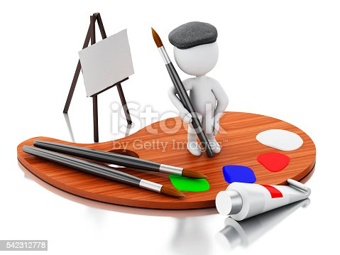 1021586250istockphoto 3d White people artist painting on color palette. 542312778