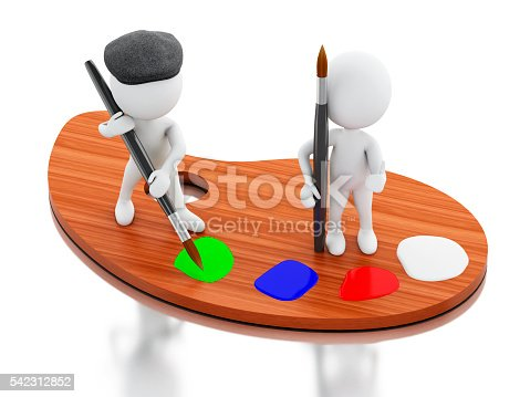1021586250istockphoto 3d White people artist painting on color palette. 542312852