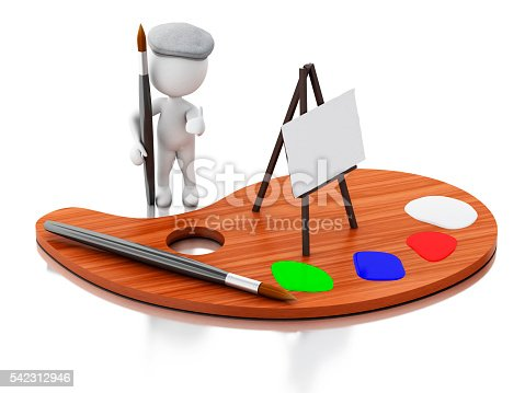 1021586250istockphoto 3d White people artist with color palette. 542312946