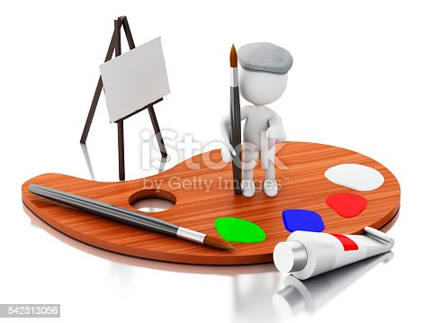 1021586250istockphoto 3d White people artist with color palette. 542313056
