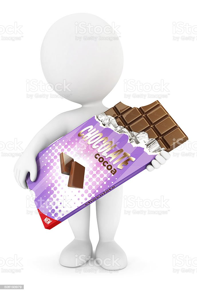 3d white people bar of chocolate stock photo