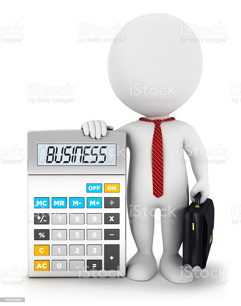 3d white people business calculator stock photo