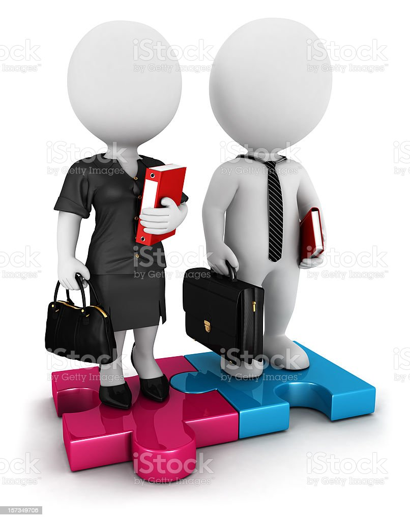 3d white people businessman and businesswoman stock photo