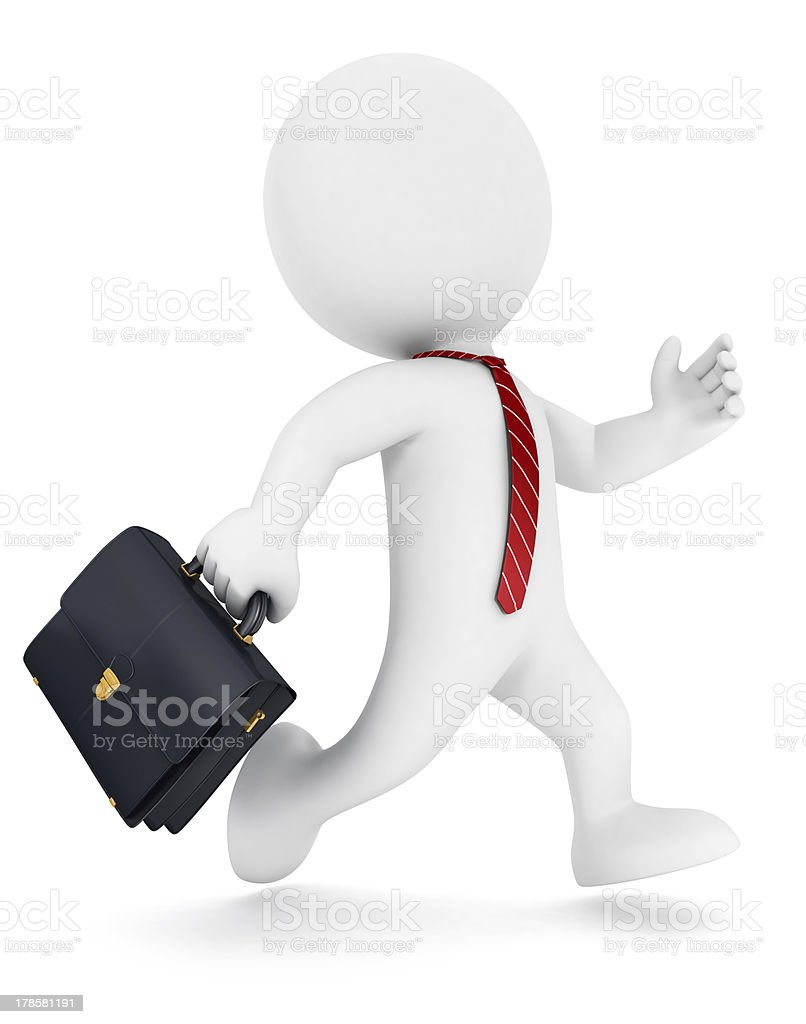 3d white people businessman running stock photo