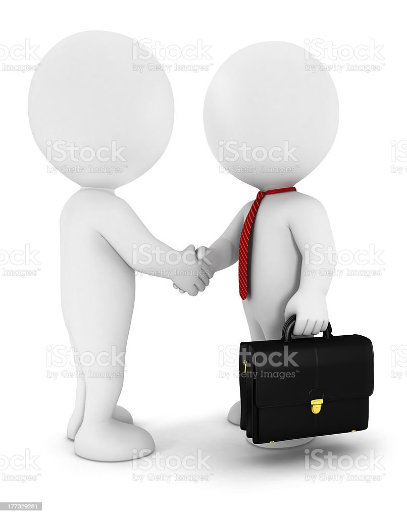 3d white people businessmen strike an agreement stock photo