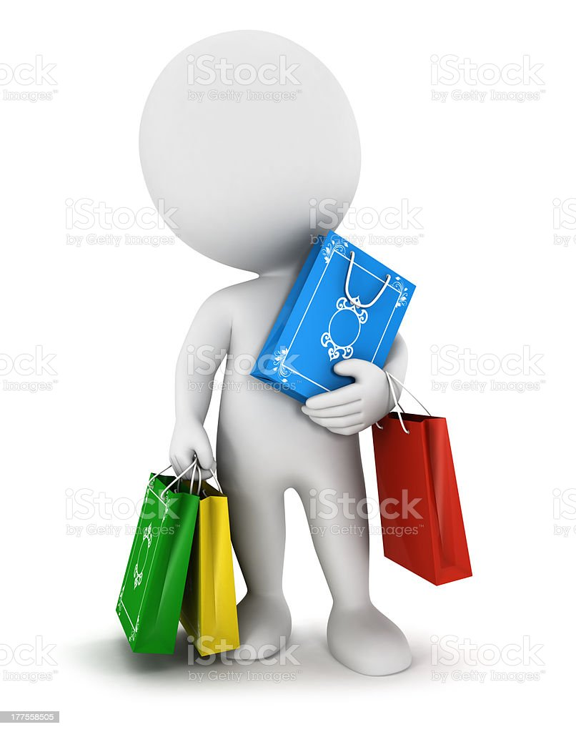 3d white people carries shopping bags royalty-free stock photo