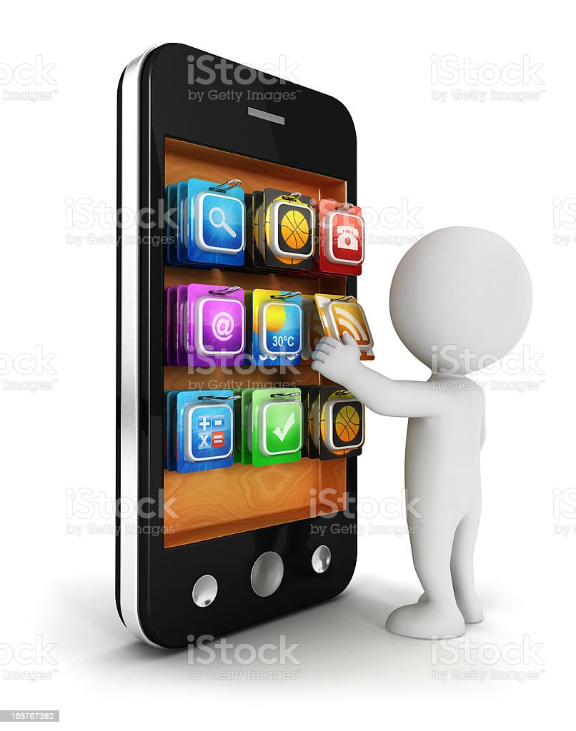 3d white people chooses an app for smartphone royalty-free stock photo